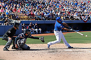 March 18, 2018 - Las Vegas, NV, U.S. - LAS VEGAS, NV - MARCH 18: Yasiel Balaguert (3) of the Cubs hits a double during a game between the Chicago Cubs and Cleveland Indians as part of Big League Weekend on March 18, 2018 at Cashman Field in Las Vegas, Nevada. (Photo by Jeff Speer/Icon Sportswire) (Credit Image: © Jeff Speer/Icon SMI via ZUMA Press)