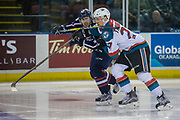 KELOWNA, CANADA - MARCH 04:  Calvin Thurkauf #27 of the Kelowna Rockets, Parker Wotherspoon #37 of the Tri-City Americans at the Kelowna Rockets game on March 04, 2017 at Prospera Place in Kelowna, British Columbia, Canada.  (Photo By Cindy Rogers/Nyasa Photography,  *** Local Caption ***