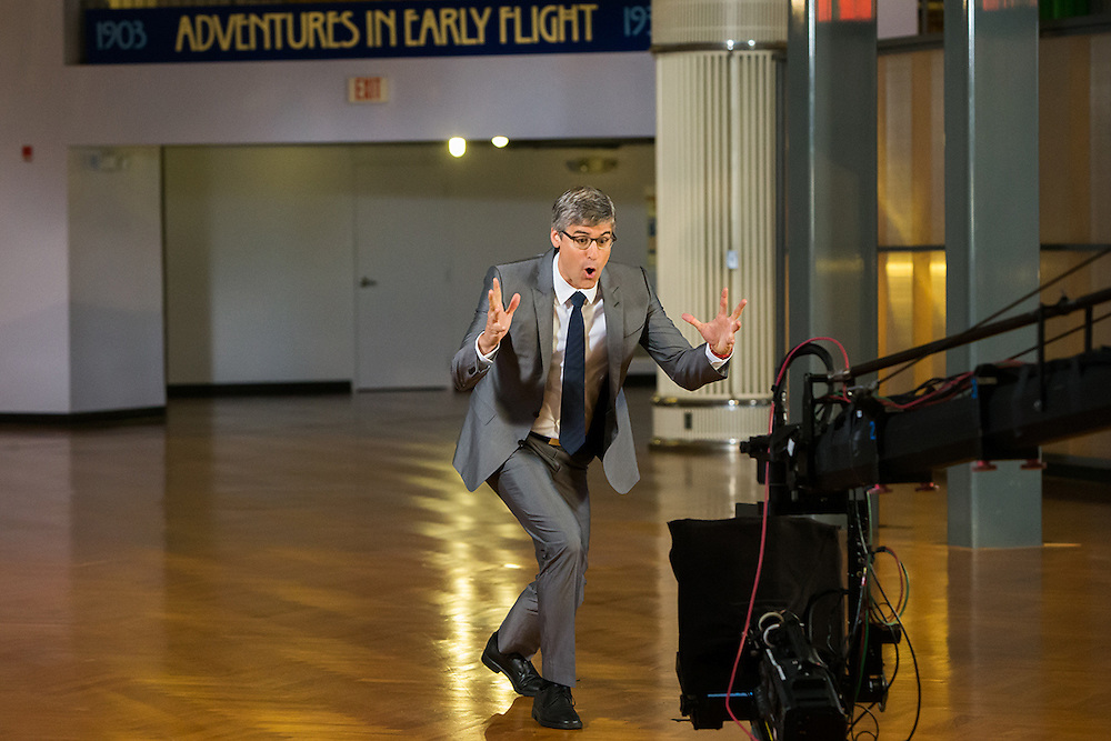 Mo Rocca filming at The Henry Ford Museum for The Henry Ford's Innovation Nation television show.  Set photographer Kristina Sikora