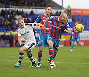 Inverness' David Raven clears from Dundee's Henrik Ojamaa - Inverness Caledonian Thistle v Dundee in the Ladbrokes Scottish Premiership at Caledonian Stadium, Inverness.Photo: David Young<br /> <br />  - © David Young - www.davidyoungphoto.co.uk - email: davidyoungphoto@gmail.com