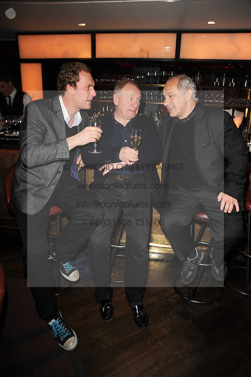 Left to right, SAM HOARE, DAVID SHAW-PARKER and NICHOLAS WOODESON at 'Heavenly Ivy' a play to commemorate 20 years of The Ivy Restaurant, held at The Ivy, West Street, London on 8th November 2010.