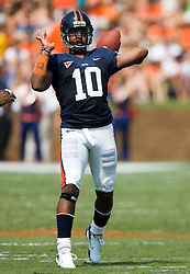 Virginia quarterback Jameel Sewell (10) in action against Duke.  The Virginia Cavaliers defeated the Duke Blue Devils 23-14 at Scott Stadium in Charlottesville, VA on September 8, 2007  With the loss, Duke extended their longest-in-the-nation losing streak to 22 games.