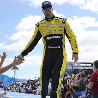 Race car driver Paul Menard is seen during driver introductions prior to the 58th Annual NASCAR Daytona 500 auto race at Daytona International Speedway on Sunday, February 21, 2016 in Daytona Beach, Florida.  (Alex Menendez via AP)