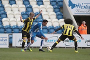 Colchester No 19 Macauley Bonne in the Sky Bet League 1 match between Colchester United and Burton Albion at the Weston Homes Community Stadium, Colchester, England on 23 April 2016. Photo by Nigel Cole.