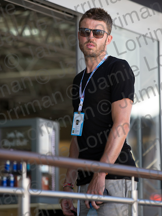 The 2018 Formula 1 F1 Rolex British grand prix, Silverstone, England. Sunday 8th July 2018.<br /> <br /> Pictured: Footballer Michael Carrick in the paddock ahead of the race at Silverstone.<br /> <br /> Jamie Lorriman<br /> mail@jamielorriman.co.uk<br /> www.jamielorriman.co.uk<br /> 07718 900288