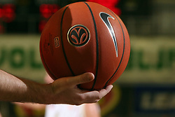 An official Euroleague ball in judge`s hand at Euroleague basketball game between Union Olimpija from Ljubljana, Slovenia and Virtus VidiVici from Bologna, Italy, played in Ljubljana on January 24, 2008. Union Olimpija won the game 75:60. (Photo by Vid Ponikvar / Sportal Images).