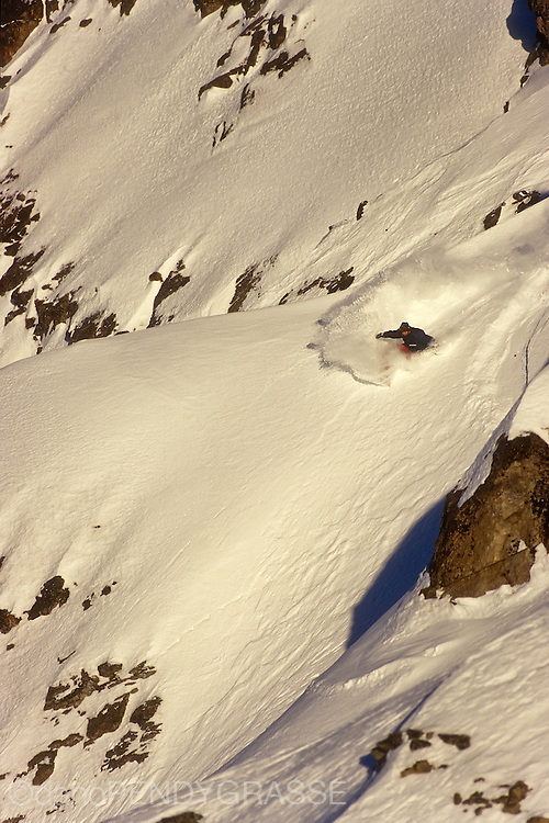 JF Pelchat turns in the late day light. Whistler, BC, Canada.