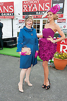 Bairbre Power  and Rosanna Davison judges in  the Anthony Ryan's Best Dressed ladies day at the Galway . Photo:Andrew Downes.Photo issued with Compliments, No reproduction fee on first use