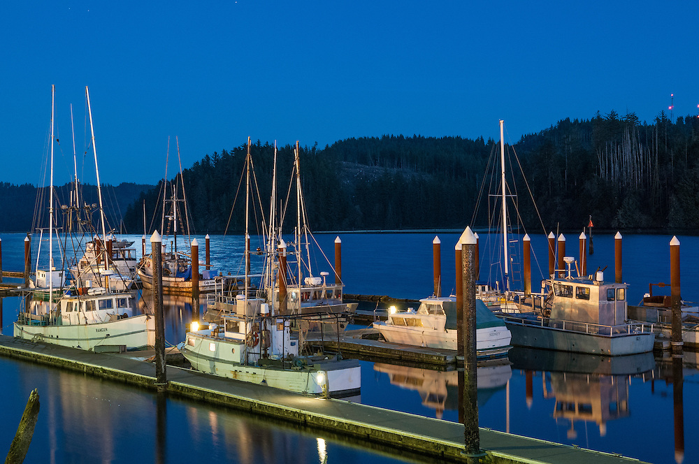 Fishing boats at docks on the Siuslaw River in Old Town Florence on the central Oregon coast.