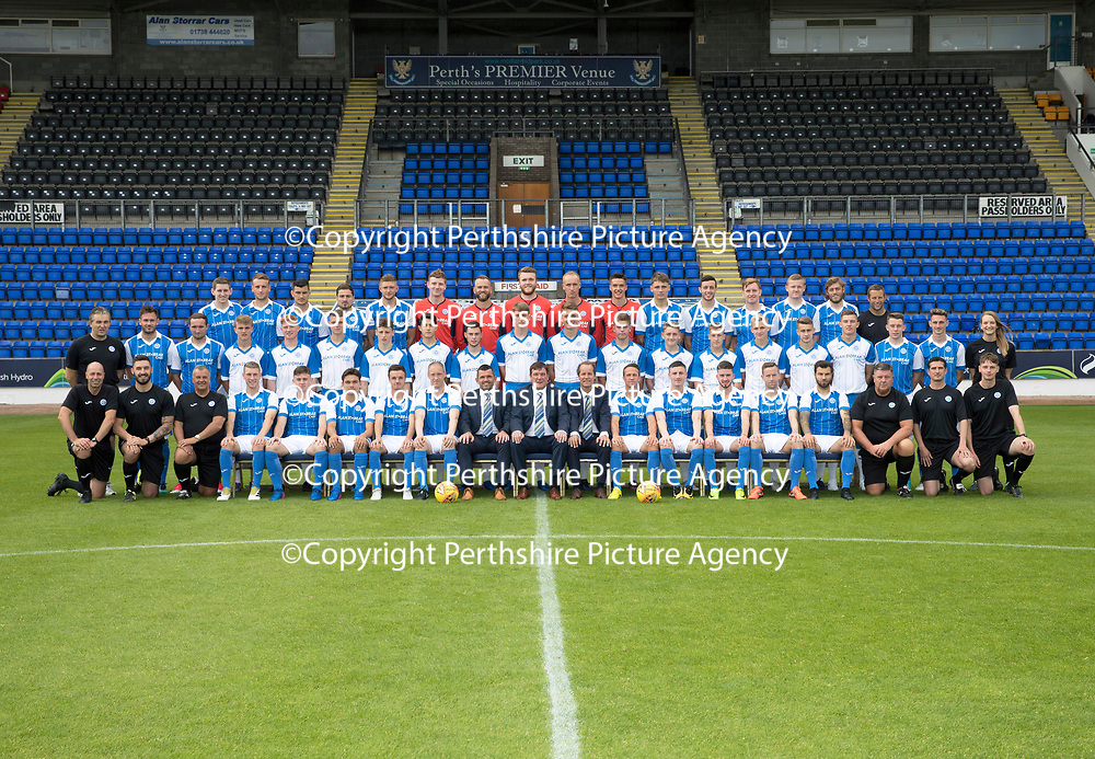 St Johnstone FC Season 2017-18 Photocall<br />Pictured back row from left, Blair Alston, Ally Gilchrist, Graham Cummins, Paul Paton, Liam Gordon, Ben MacKenzie, Alan Mannus, Zander Clark, Mark Hurst, Ross Sinclair, Jason Kerr, Joe Shuaghnessy, Liam Craig, Brian Easton, Murray Davidson and Alex Headrick Sports Scientist.<br />Middle row from left, Manny Fowler Kit Manager, Keith Watson, Chris Kane, Cameron Ballantyne, Euan O'Reilly, Ciaran Brian, Jamie Mackenzie, Daniel Jardine, Cameron Thomson, Ben Quigley, Jack Wilson, Shaun Struthers, John Robertson, Jamie Docherty, Alistair McCann, Cameron Lumsden, Callum Hendry, Kyle McLean, Scott Tanser and Mel Stewart Physio.<br />Front row from left, Paul Mathers GK Coach, Tony Tompos Head Physio, Alastair Stevenson Youth Dev Mananger, David Wotherspoon, Craig Thomson, Aaron Comrie, Stefan Scougall, Steven Anderson Captain, Callum Davidson Assistant Manager, Tommy Wright Manager, Alex Cleland Coach, Chris Millar Vice Captain, Michael O'Halloran, Greg Hurst, Steven MacLean, Richie Foster, George Browning U20 GK Coach, Euan Peacock Chief Scout and <br />Picture by Graeme Hart.<br />Copyright Perthshire Picture Agency<br />Tel: 01738 623350  Mobile: 07990 594431