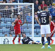 Shaleum Logan celebrates after James McPake (grounded) own goal  - Dundee v Abderdeen, SPFL Premiership at Dens Park<br /> <br />  - &copy; David Young - www.davidyoungphoto.co.uk - email: davidyoungphoto@gmail.com
