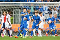 29.07.2015, INEA Stadion, Poznan, POL, UEFA CL, Lech Poznan vs FC Basel, Qualifikation, 3. Runde, Hinspiel, im Bild DARIUSZ FORMELLA, SZYMON PAWLOWSKI, DENIS THOMALLA , KAROL LINETTY RADOSC BRAMKA GOL // during the UEFA Champions League Qualifier, third round, first Leg match between Lech Posen and FC Basel at the INEA Stadion in Poznan, Poland on 2015/07/29. EXPA Pictures © 2015, PhotoCredit: EXPA/ Newspix/ Radoslaw Jozwiak<br /> <br /> *****ATTENTION - for AUT, SLO, CRO, SRB, BIH, MAZ, TUR, SUI, SWE only*****