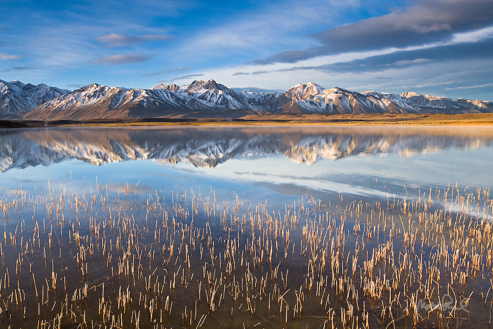 One of my favorite locations to photograph is the Mammoth Lakes area of California. That morning soon after the alpenglow the sunlight broke through the clouds over in the east warming up the Eastern Sierras landscape. It's always an experience to wake up early and watch the rising sun do its morning work and paint the landscape with light. The Owens Valley and the Mammoth Lakes are some of the most scenic area of the Eastern Sierras and make for great photos.