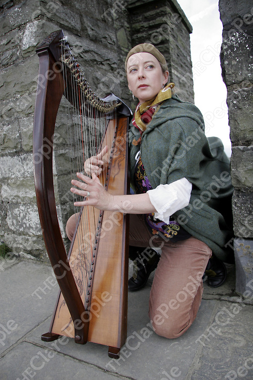 Musician Brid McCabe who faces eviction from the Cliffs of Moher by Clare County Council for trespassing.  There have been musicians at the cilffs for over 40 years.<br />