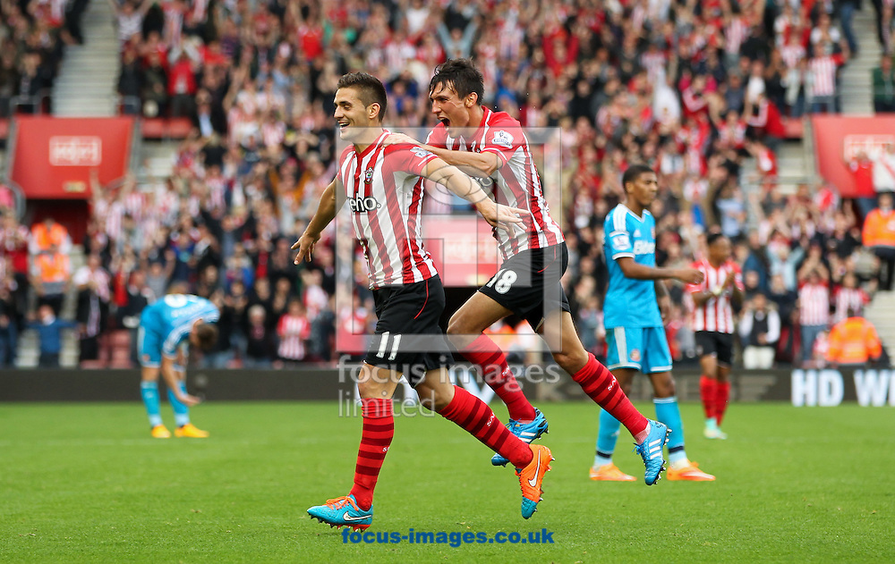 Du&scaron;an Tadić (centre left) of Southampton celebrates scoring his sides sixth goal followed by his team mate Jack Cork (centre right) during the Barclays Premier League match at the St Mary's Stadium, Southampton<br /> Picture by Tom Smith/Focus Images Ltd 07545141164<br /> 18/10/2014