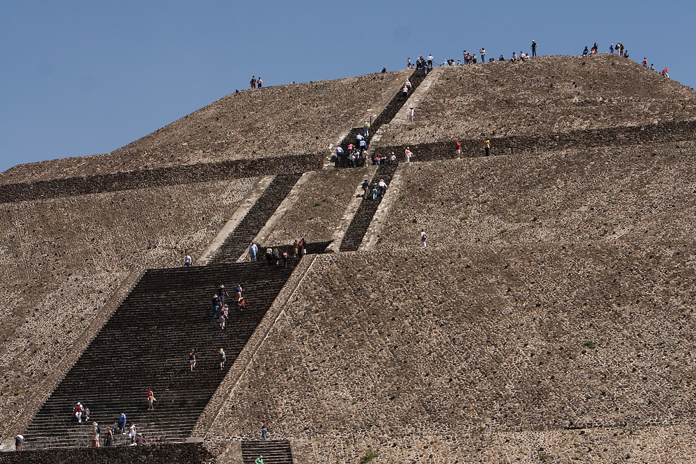 "Teotihuacan was the largest pre-Columbian city in the Americas. The city's broad central avenue, called ""Avenue of the Dead"", is flanked by impressive ceremonial architecture, including the immense Pyramid of the Sun (second largest in the New World after the Great Pyramid of Cholula) and the Pyramid of the Moon. Further down the Avenue of the Dead is the area known as the Citadel, containing the ruined Temple of the Feathered Serpent. Feb. 22, 2008. (ivan gonzalez)."