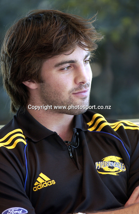 Conrad Smith during a media session at the War Memorial Centre, Napier, New Zealand, 31 May 2005. <br /> <br /> <br /> Photo by JOHN COWPLAND / Photosport