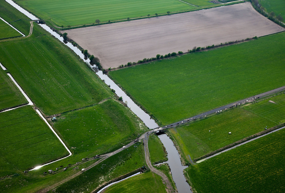 Nederland, Friesland, Gemeente Gaasterlan-Sleat, 28-04-2010; Gaasterland, koeien op weg naar de boerderij om gemolken te worden. Omgeving Nijemardum (Nijemirdum), op de grens van de polders Buitenwallen en Nieuwe Grasvennen.Cows on the route to the farm to be milked, southeast Friesland..luchtfoto (toeslag), aerial photo (additional fee required).foto/photo Siebe Swart