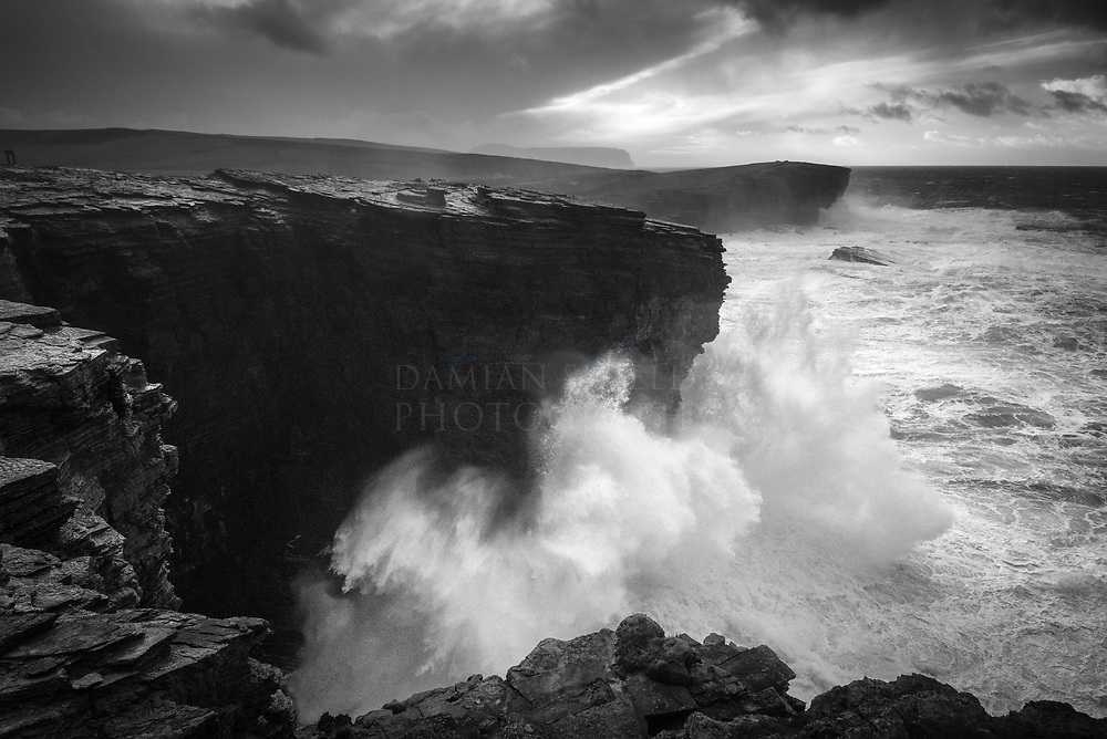 An exhilarating experience to have witnessed the onset of Storm Barbara as it met the cliffs at Yesnaby. Had to hunker down and continually wipe off spray on my lens as the waves battered the rocks below.