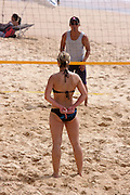 Manly beach. Beach volleyball. Announcing the next pre-arranged trick by hand signs.