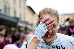 The win sinks in for Lizzy Banks (GBR) after Stage 8 of 2019 Giro Rosa Iccrea, a 133.3 km road race from Vittorio Veneto to Maniago, Italy on July 12, 2019. Photo by Sean Robinson/velofocus.com