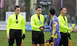 Players of Maribor and referees before football match between ND Mura 05 and NK Maribor in 21th Round of Slovenian First League PrvaLiga NZS 2012/13 on December 2, 2012 in Murska Sobota, Slovenia. (Photo By Ales Cipot / Sportida)