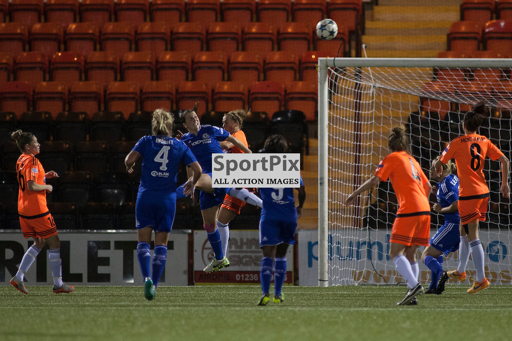 CLFC Niamh Fahey heads the ball across the City goalmouth in an attack during the Glasgow City v Chelsea LFC Women's Champions League last-32 2nd Leg 14 October 2015<br />