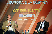 Rome sep 25th 2015, Atreju 2015, debate with the president of Regione Lombardia. In the picture Roberto Maroni, Alessandro Sallusti