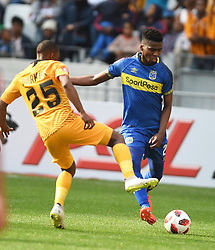 Cape Town-180915-  Cape Town City  midfielder Mpho Matsi challenged  by Kaizer Chiefs Bernard Parker in the ABSA Premiership clash at the Cape Town Stadium.City are trying to keep winning their home games and their position on the log.Photographs:Phando Jikelo/African News Agency/ANA