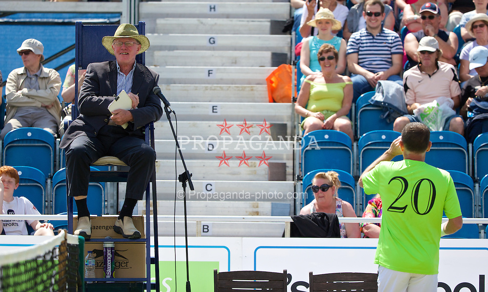 LIVERPOOL, ENGLAND - Sunday, June 22, 2014: A chair umpire during Day Four of the Liverpool Hope University International Tennis Tournament at Liverpool Cricket Club. (Pic by David Rawcliffe/Propaganda)