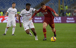 February 3, 2019 - Rome, Italy - Nicolò Zaniolo and  Franck Kessie during the Italian Serie A football match between A.S. Roma and A.C. Milan at the Olympic Stadium in Rome, on february 03, 2019. (Credit Image: © Silvia Lore/NurPhoto via ZUMA Press)