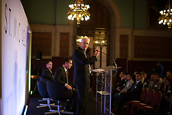 © Licensed to London News Pictures . 28/07/2016 . Manchester , UK . Architect KEN SHUTTLEWORTH speaks . Launch of the St Michael's city centre development , at the Lord Mayor's Parlour in Manchester Town Hall . Backed by The Jackson's Row Development Partnership (comprising Gary Neville , Ryan Giggs and Brendan Flood ) along with Manchester City Council , Rowsley Ltd and Beijing Construction and Engineering Group International , the Jackson's Row area of the city centre will be redeveloped with a design proposed by Make Architects . Photo credit : Joel Goodman/LNP