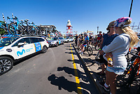 Team cars arrive for Stage 1, Port Adelaide to Lyndoch, of the Tour Down Under, Australia on the 16 of January 2018 ( Credit Image: © Gary Francis / ZUMA WIRE SERVICE )