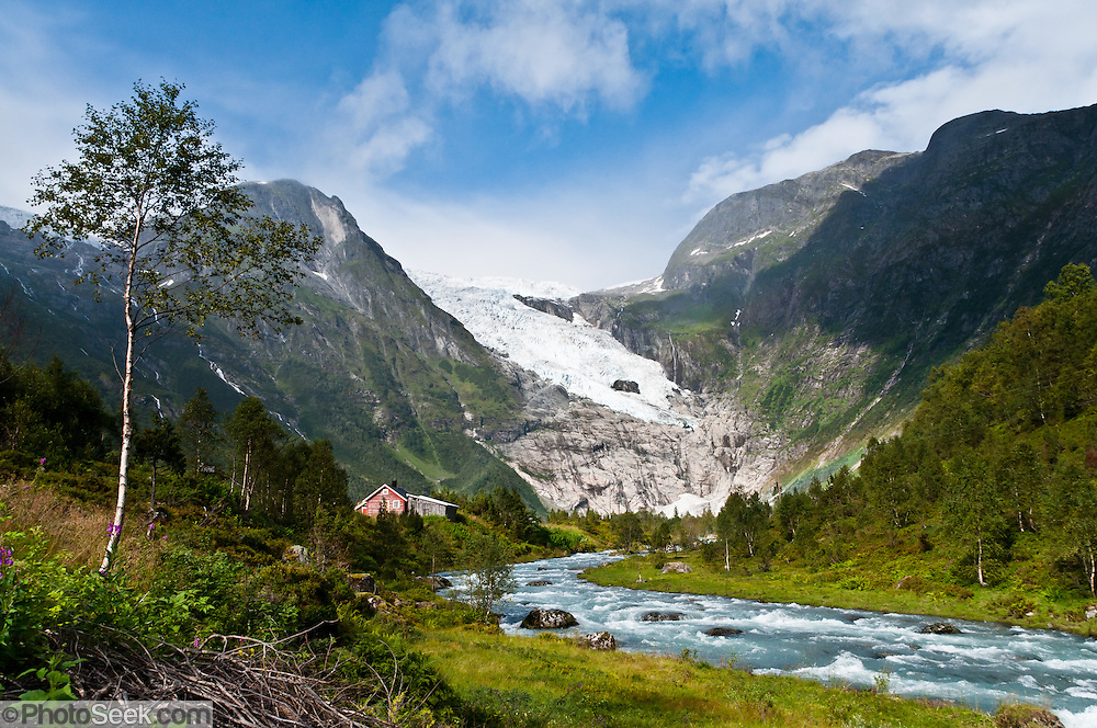 See the glacier of Bøyabreen near the east exit of Fjærland tunnel (Fjærlandstunnelen) on Norwegian National Road RV 5, in Sogn og Fjordane county, Norway.