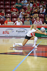 18 AUG 2007: Kasey Mollerus digs out a low ball. The Illinois State Redbirds, picked for 5th in the pre-season Missouri Valley Conference coaches poll, prepare for the beginning of the season during the annual Red/White inter-squad scrimmage at Redbird Arena in Normal Illinois.