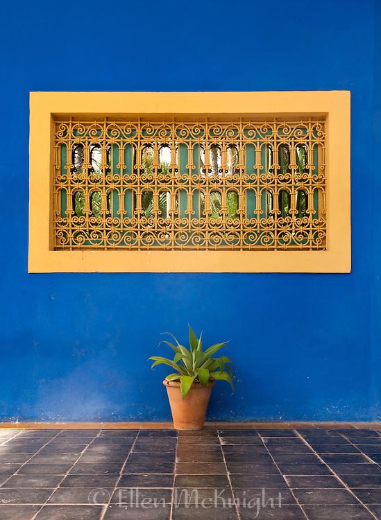 Colorful wall at Majorelle Garden in Marrakech, Morocco