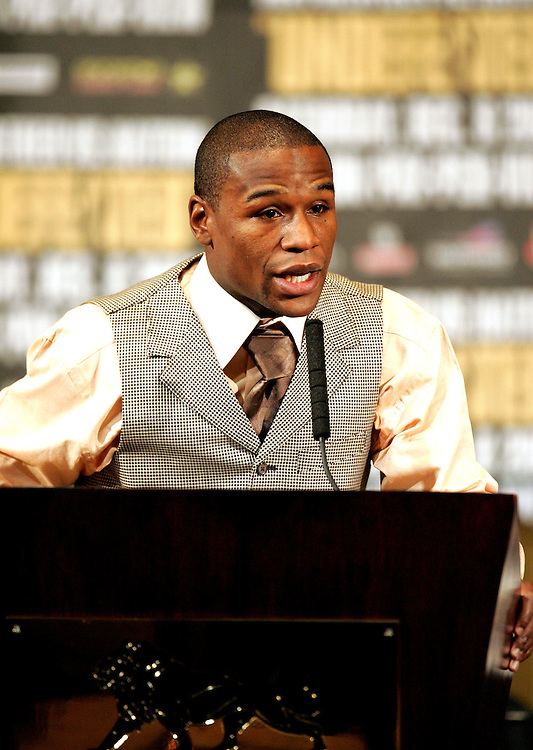 Floyd Mayweather addresses the media at the final press conference. Ricky Hatton v Floyd Mayweather, Las Vegas, Nevada.
