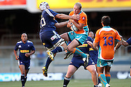 Philip Snyman beats Donovan Armandt to the high ball during the DHL Pre-Season Series match between The Stormers and the Cheetahs held at Newlands Rugby Stadium in Newlands, Cape Town on the 4th February 2012.Photo by Ron Gaunt/SPORTZPICS