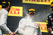 July 21-24, 2016 - Hungarian GP, Lewis Hamilton (GBR), Mercedes spays Nico Rosberg  (GER), Mercedes  with Champagne
