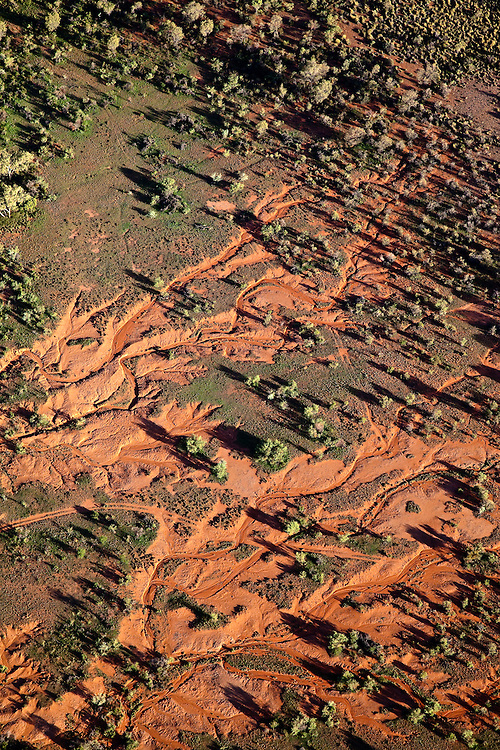 Aerial View of long shadows and run-off in the West MacDonnell Natinal Park