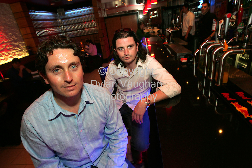 20/5/2004 TONY CLAYTON LEA.Brendan Morrissey (left) and Tony Morrissey formerly of rock band My Little.Funhouse at Morrisseys Bar Kilkenny .Picture Dylan Vaughan