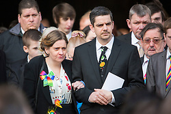 © Licensed to London News Pictures. 13/02/2017. York UK. Paul & Alison Rough parents of Katie Rough at The funeral of seven year old Katie Rough that has taken place at York Minster today led by the Archbishop of York Dr John Sentamu. Katie was found with severe lacerations to her neck & chest on a playing field in the Woodthorpe area of York on January 9th & pronounced dead at hospital. A 15 year old girl is due to appear in court later this week charged with her murder. Photo credit: Andrew McCaren/LNP