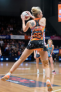 SYDNEY, NSW - JUNE 22: Jo Harten of the Giants catches the ball during the round 9 Super Netball match between the Giants and the Vixens at Quaycentre on June 22, 2019 in Sydney, Australia. (Photo by Speed Media/Icon Sportswire)