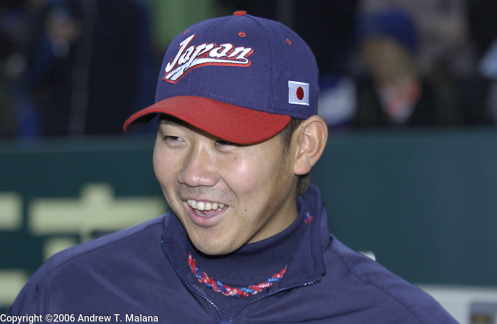 Team Japan starter Daisuke Matsuzaka smiles to the reporters before the start of the game against Team Korea in the World Baseball Classic at Tokyo Dome, Tokyo, Japan.