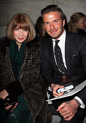 David Beckham and Anna Wintour at the Victoria Beckham show at New York Fashion Week AW 2012, Sunday , February 12th 2012.  Photo by: Stephen Lock / i-Images