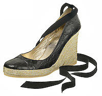 black leather wedge high heel with angle ribbon