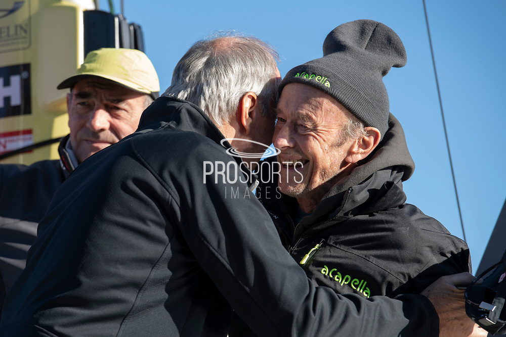 Mike Birch (winner of the 1st édition Route du Rhum in 1978) and Marc Pajot during the Route du Rhum 2018, on November 2nd, in Saint Malo, France, before the Route du Rhum sailing race to start on November 4th 2018 - Photo Olivier Blanchet / ProSportsImages / DPPI