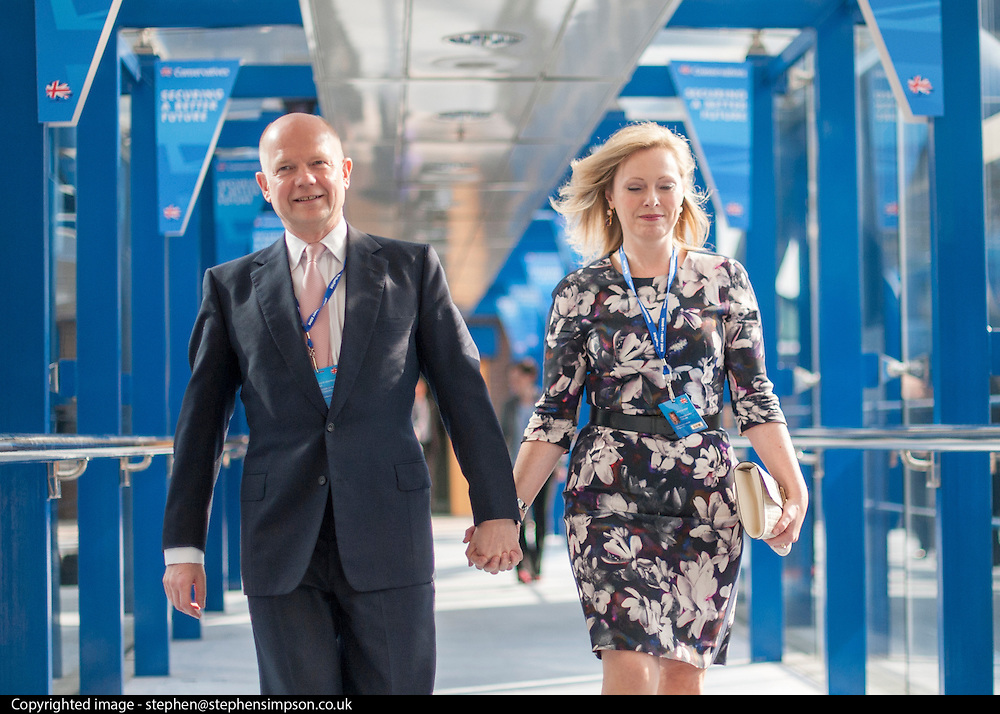 © Licensed to London News Pictures. 28/09/2014. Birmingham, UK. William Hague and his wife Ffion Hague arrive ahead of his final speech at conference as an MP. The Conservative Party Conference in Birmingham 28th September 2014. Photo credit : Stephen Simpson/LNP