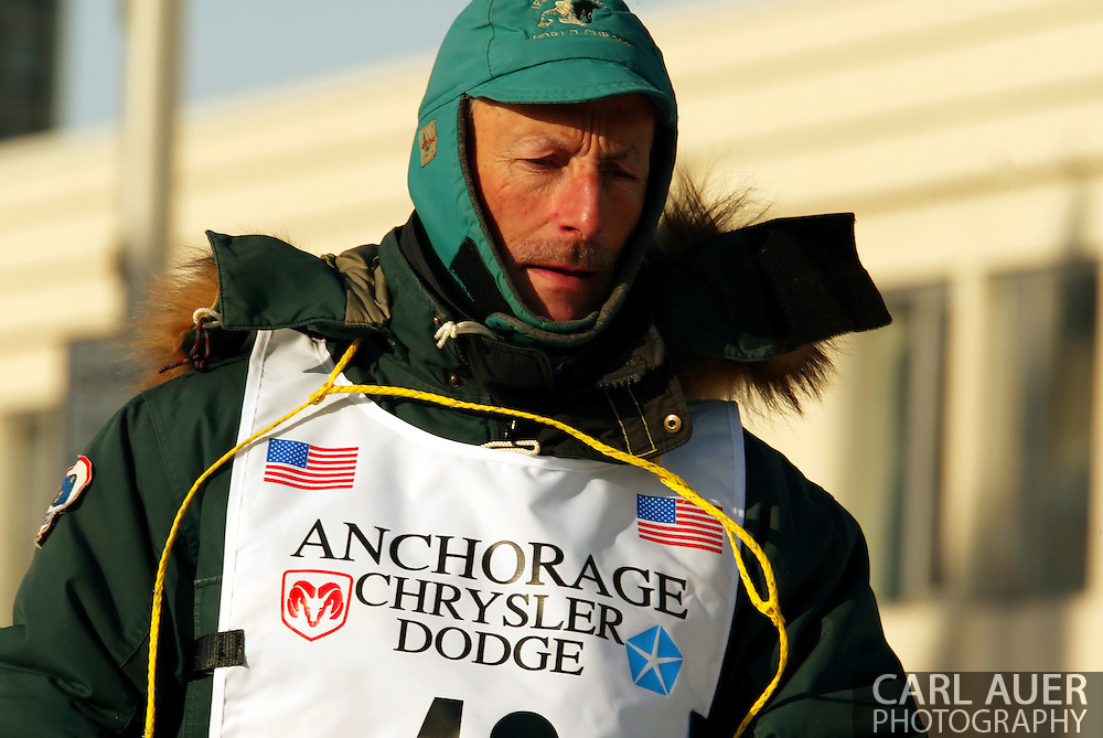 3/3/2007:  Anchorage Alaska -  Veteran Jacques Philip of Nenana, AK during the Ceremonial Start of the 35th Iditarod Sled Dog Race