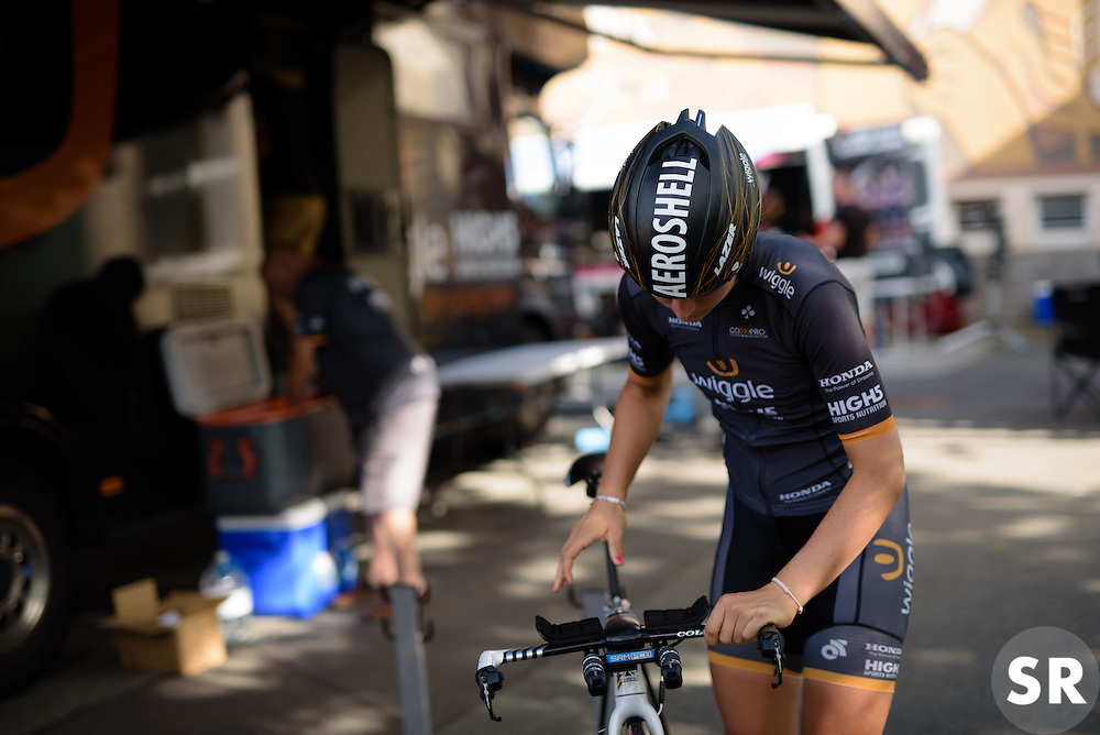 Final checks for Elisa Longo Borghini (Wiggle High5) at Thüringen Rundfarht 2016 - Stage 4 a 19km time trial starting and finishing in Zeulenroda Triebes, Germany on 18th July 2016.